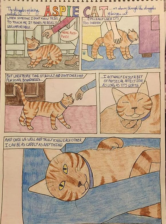 'Aspie Cat' comic strip