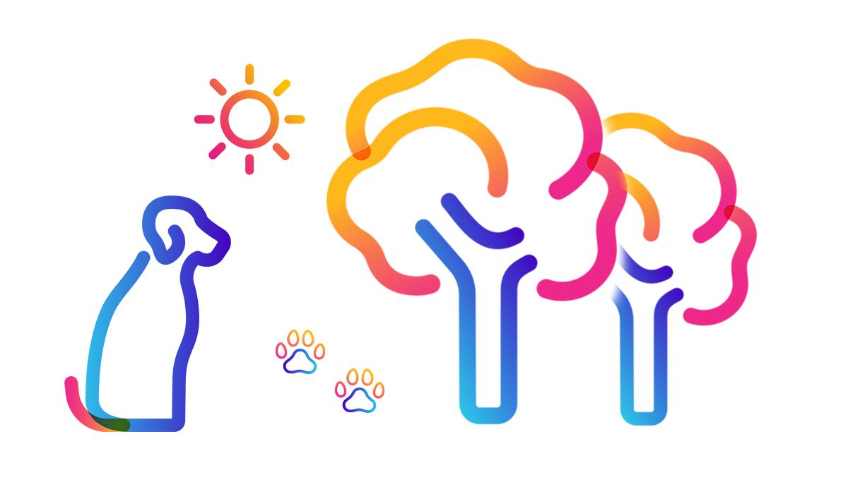 dog, tree, and sun icons